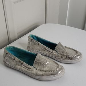 Sperry topsider silver snakeskin loafers